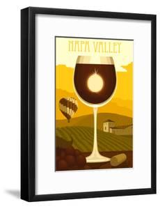 Napa Valley, California - Wine Glass and Vineyard by Lantern Press