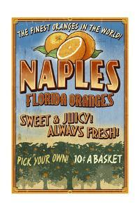 Naples, Florida - Orange Grove Vintage Sign by Lantern Press