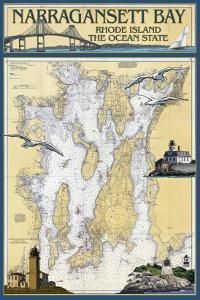 Narragansett Bay, Rhode Island Nautical Chart by Lantern Press