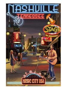 Nashville, Tennessee - Broadway at Night by Lantern Press