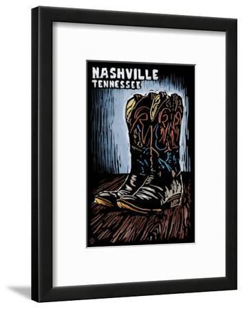 Nashville, Tennessee - Cowboy Boots - Scratchboard