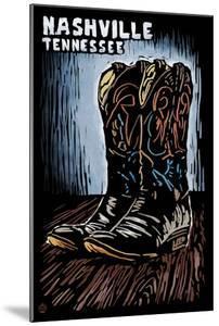 Nashville, Tennessee - Cowboy Boots - Scratchboard by Lantern Press