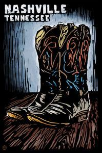 Nashville, Tennessee - Cowboy Boots - Scratchboard by Lantern Press
