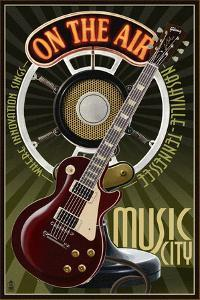 Nashville, Tennessee - Guitar and Microphone by Lantern Press