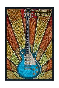 Nashville, Tennessee - Guitar Mosaic by Lantern Press