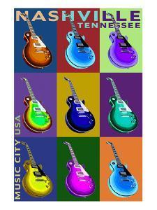 Nashville, Tennessee - Guitar Pop Art by Lantern Press