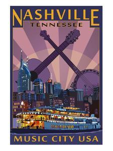Nashville, Tennessee - Skyline at Night by Lantern Press