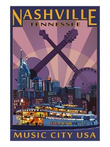 Nashville, Tennessee - Skyline at Night by Lantern Press