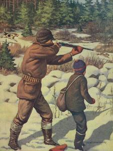 National Sportsman - Father and Son with their Dog in a Hunting Scene, c.1921 by Lantern Press