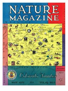 Nature Magazine - Detailed Map of Colorado State with Scenic Spots to Visit, c.1932 by Lantern Press
