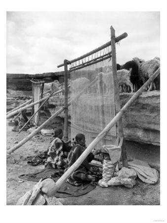 Navajo Women Weaving Blankets Photograph