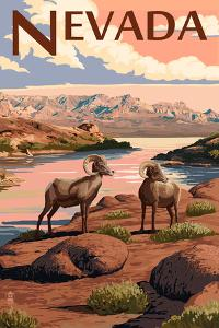 Nevada - Bighorn Sheep by Lantern Press