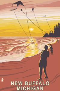 New Buffalo, Michigan - Beach and Kites by Lantern Press