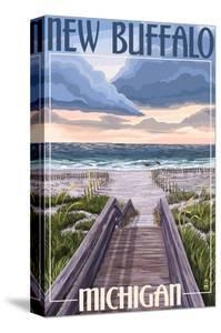 New Buffalo, Michigan - Beach Scene by Lantern Press