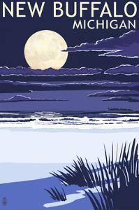 New Buffalo, Michigan - Full Moon Night Scene by Lantern Press