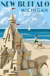 New Buffalo, Michigan - Sandcastle by Lantern Press