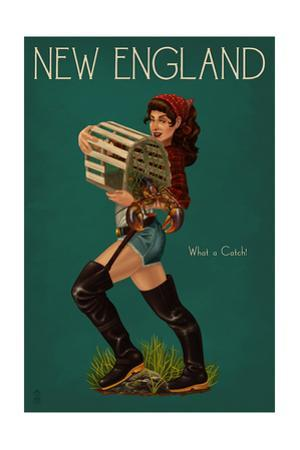 New England - Lobster Fishing Pinup by Lantern Press