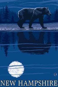 New Hampshire - Bear in the Moonlight by Lantern Press