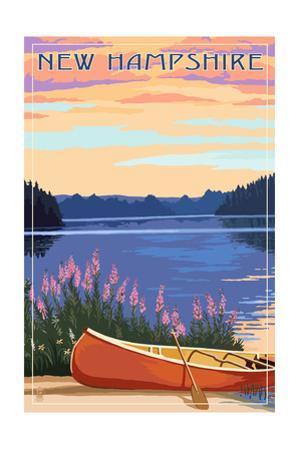 New Hampshire - Canoers on Lake by Lantern Press