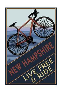 New Hampshire - Live Free and Ride - Mountain Bike by Lantern Press