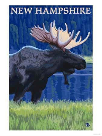 New Hampshire - Moose in the Moonlight by Lantern Press