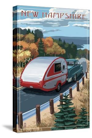 New Hampshire - Retro Camper on Road