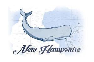 New Hampshire - Whale - Blue - Coastal Icon by Lantern Press