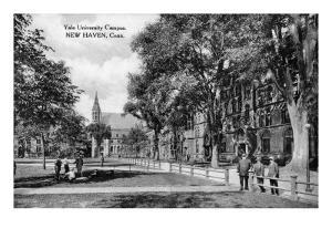 New Haven, Connecticut, View of Yale University Campus by Lantern Press