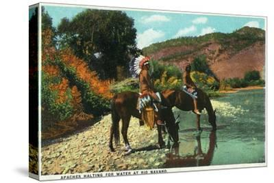 New Mexico - Apache Natives on Horseback Stop for Water at Rio Navajo