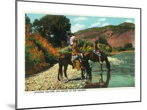 New Mexico - Apache Natives on Horseback Stop for Water at Rio Navajo by Lantern Press
