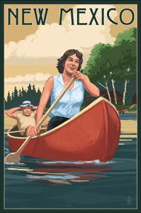 New Mexico - Canoers on Lake by Lantern Press