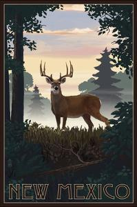New Mexico - Deer and Sunrise by Lantern Press