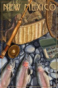 New Mexico - Fishing Still Life by Lantern Press