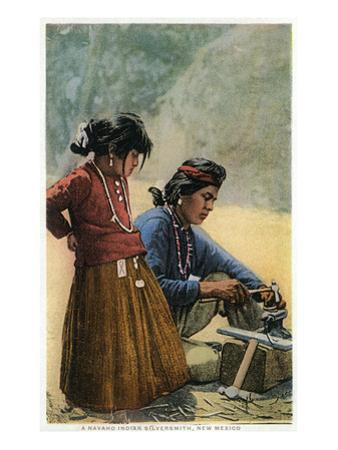 New Mexico - Navajo Silversmith Working with Daughter by Lantern Press