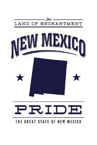 New Mexico State Pride - Blue on White by Lantern Press
