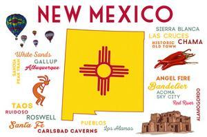 New Mexico - Typography and Icons by Lantern Press