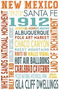 New Mexico - Typography by Lantern Press