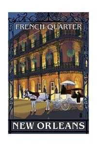 New Orleans, Louisiana - French Quarter at Night - Lantern Press Original Poster by Lantern Press
