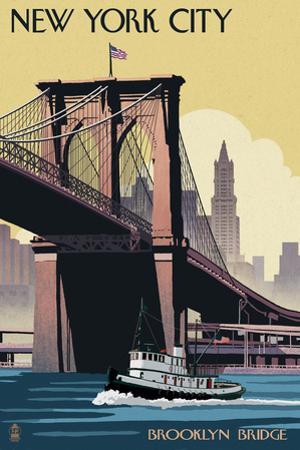 New York City, New York - Brooklyn Bridge by Lantern Press