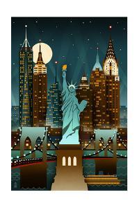 New York City, New York - Retro Skyline (no text) by Lantern Press