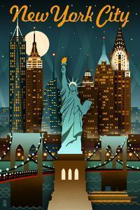 New York City, New York - Retro Skyline by Lantern Press