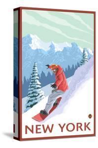 New York - Snowboarder Scene by Lantern Press