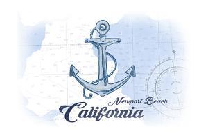 Newport Beach, California - Anchor - Blue - Coastal Icon by Lantern Press