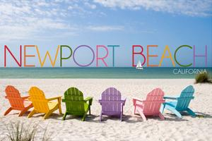 Newport Beach, California - Colorful Beach Chairs by Lantern Press