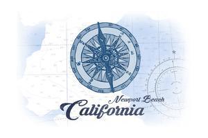 Newport Beach, California - Compass - Blue - Coastal Icon by Lantern Press