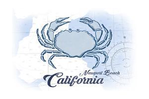 Newport Beach, California - Crab - Blue - Coastal Icon by Lantern Press