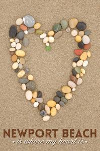 Newport Beach, California Is Where My Heart Is - Stone Heart on Sand by Lantern Press