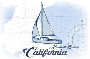 Newport Beach, California - Sailboat - Blue - Coastal Icon by Lantern Press