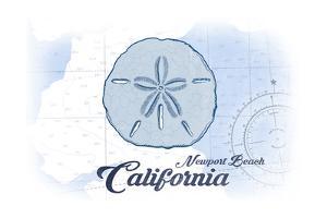 Newport Beach, California - Sand Dollar - Blue - Coastal Icon by Lantern Press