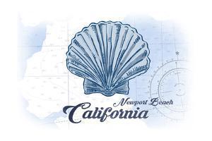 Newport Beach, California - Scallop Shell - Blue - Coastal Icon by Lantern Press
